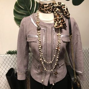 Halogen light gray Chanel like blazer  jacket sz M